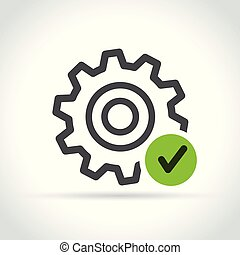 gear with green check mark icon