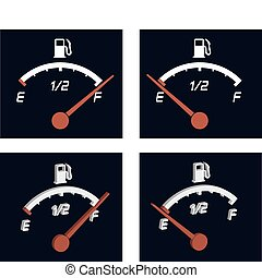 illustration of generic fuel meter over dark background