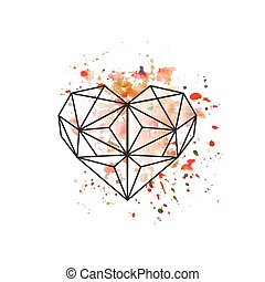Illustration of geometric heart on watercolor background