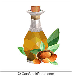 Illustration of geometric polygonal bottle with almond oil ...