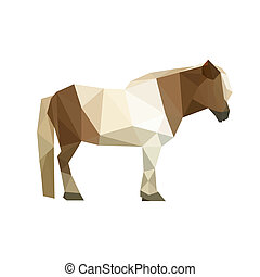 pony - Illustration of geometric polygonal pony