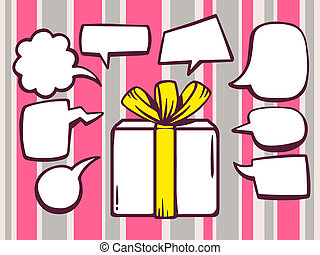 illustration of gift box with speech comics bubbles on pi
