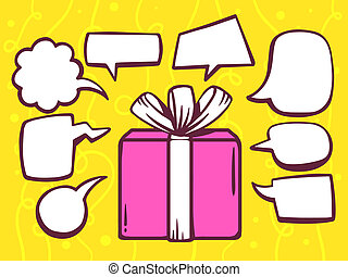 illustration of gift box with speech comics bubbles on ye