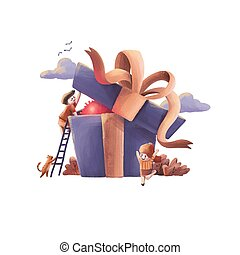 illustration of Gift for Valentine's day