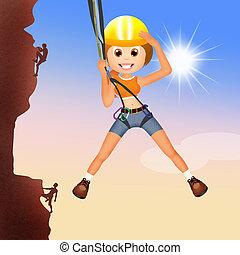 girl climber on mountain
