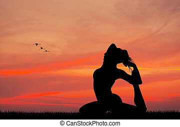 girl doing yoga silhouette at sunset