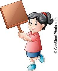 girl holding blank woodsign