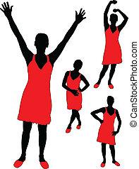 girl in red dress - vector