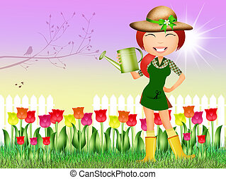 girl in tulips field