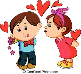 Girl kissing a man