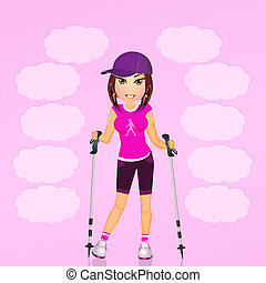 girl make Nordic walking - illustration of girl make Nordic...
