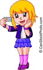 girl makes selfie - illustration of girl makes selfie