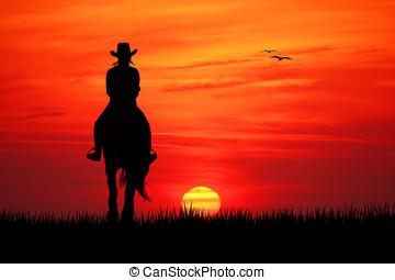 girl on horseback - illustration of girl on horseback