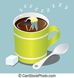 girl sleeping in green mug of coffee