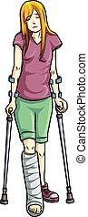 broken leg - illustration of Girl with a broken leg