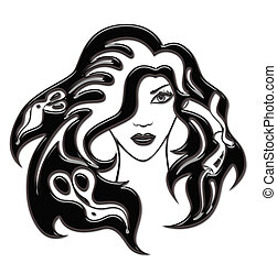 illustration of girl with hairdressing accessories in her hair