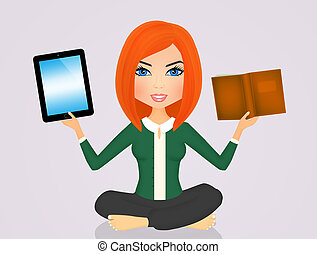 girl with ipad and book