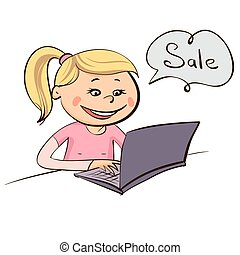 illustration of girl with laptop