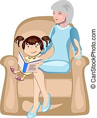Illustration of girl with their grandmother reading a book