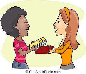 Girls Exchanging Books - Illustration of Girls Exchanging...