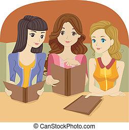 Girls holding a Restaurant Menu - Illustration of Girls...