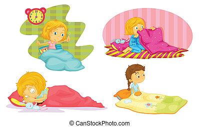 girls - illustration of girls on a white background