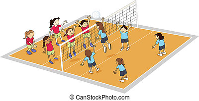 illustration of girls playing volley ball on ground