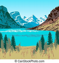 Illustration of Glacier National Park with mountains, lake and trees