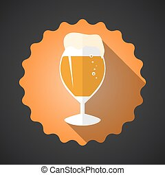 Glass of Beer Flat Long Shadow Vector Icon