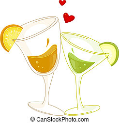 Cocktail - Illustration of Glasses of Cocktail Standing...