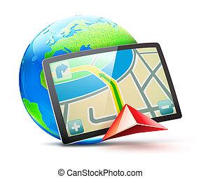 global positioning system - illustration of global...