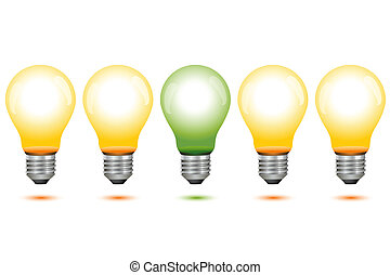 illustration of global warming with electric bulbs on white background