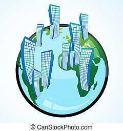 globe with buildings