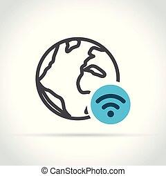 globe with wifi icon on white background