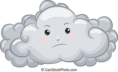 Gloomy Dark Cloud Mascot - Illustration of Gloomy Dark Cloud...