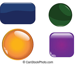 glossy buttons - vector