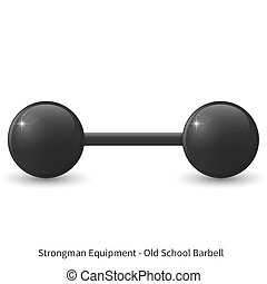 Illustration of glossy old school barbell on the white background.