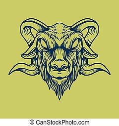 illustration of goat head design vector illustration style vintage