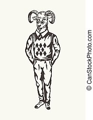 illustration of goat hipster. Black and white style