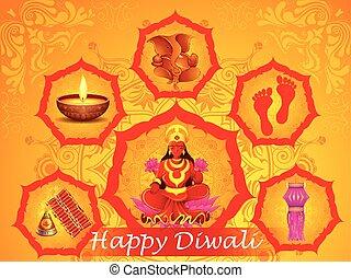 Goddess Lakshmi and Lord Ganesha in Happy Diwali holiday of India