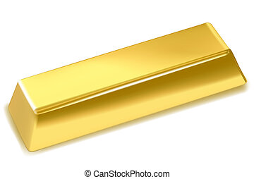 gold bar - illustration of gold bar on isolated background