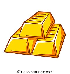 Illustration of gold bars stack. Banking and finance icon.