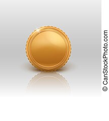 illustration of gold coin with reflection on white background