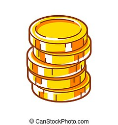 Illustration of gold coins stack. Banking and finance icon.