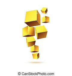 Illustration of gold geometric cubes in motion isolated on a white background.