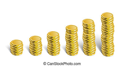 Illustration of golden coins. Isolated on white.