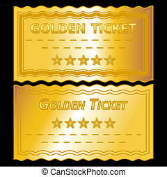 golden tickets - illustration of golden tickets on black...