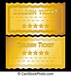 illustration of golden tickets on black background