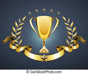 golden trophy - illustration of golden trophy with laurel ...