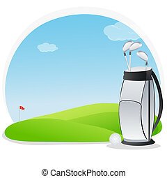 golf kit - illustration of golf kit in golf course